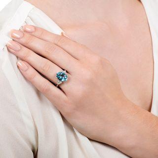 Estate 3.38 Carat Oval Aquamarine and Diamond Ring