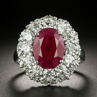Estate 3.45 Carat Burmese Ruby and Diamond Ring - 2