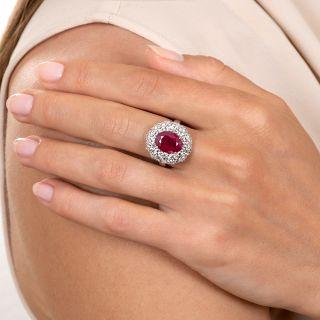 Estate 3.45 Carat Burmese Ruby and Diamond Ring