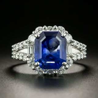 Estate 3.48 Carat No-Heat Ceylon Sapphire and Diamond Ring - GIA - 1