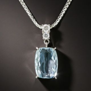 Estate 3.50 Carat Aquamarine and Diamond Drop Necklace - 2