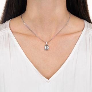 Estate 3.50 Carat Aquamarine and Diamond Drop Necklace