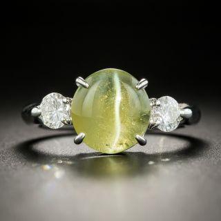Estate 3.55 Carat Chrysoberyl Cat's-Eye and Diamond Ring - 1