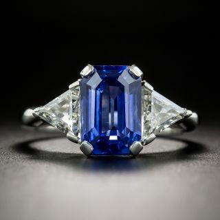 Estate 3.56 Carat Emerald-Cut Sapphire and Diamond Ring - 1