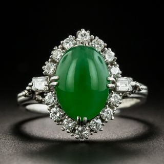 Estate 3.65 Carat Burmese Jade and Diamond Ring - 1