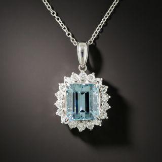 Estate 3.85 Carat Aquamarine and Diamond Halo Pendant - 2