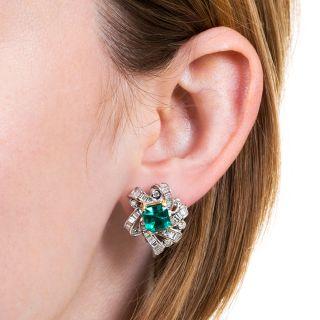 Estate 3.89 Carat Emerald and Diamond Earrings - AGL 'Minor Enhancement'