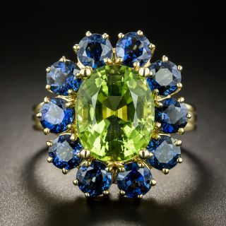Estate 3.89 Carat Peridot and Sapphire Cluster Ring - 3
