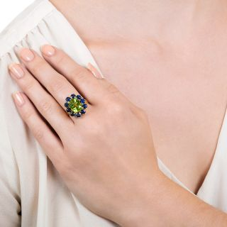 Estate 3.89 Carat Peridot and Sapphire Cluster Ring