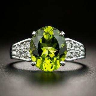 Estate 3.97 Carat Peridot and Diamond Ring - 1