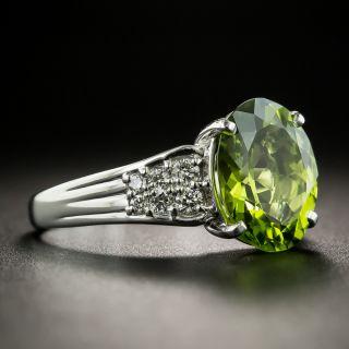Estate 3.97 Carat Peridot and Diamond Ring