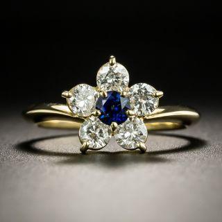 Estate .30 Carat Sapphire and Diamond Daisy Ring - 2