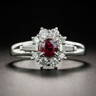 Estate .37 Carat Ruby Diamond Platinum Ring - 1