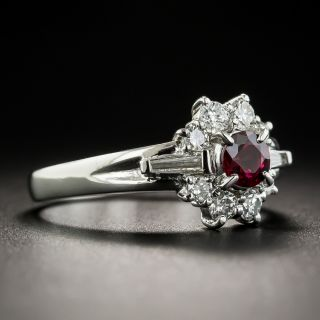 Estate .37 Carat Ruby Diamond Platinum Ring