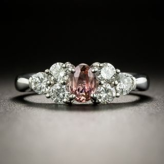 Estate .38 Carat Padparadscha Sapphire and Diamond Ring - 2