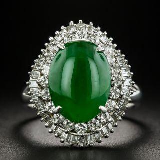 Estate 4.02 Carat Natural Burmese Jade and Diamond Ring - 1