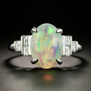 Estate 4.07 Carat Opal and Baguette Diamond Ring - Ring Size 12 - 1