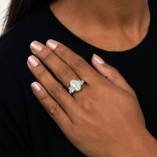 Estate 4.07 Carat Opal and Baguette Diamond Ring - Ring Size 12