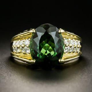Estate 4.12 Carat Green Tourmaline and Diamond Ring - 3