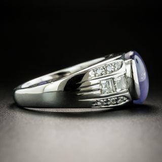 Estate 4.26 Carat Violet-Blue Star Sapphire and Diamond Ring