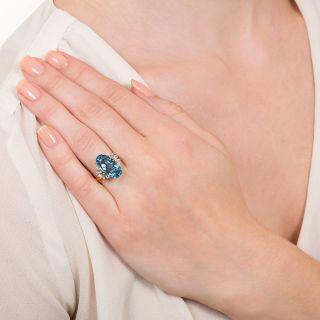 Estate 4.30 Carat Oval Aquamarine and Diamond Ring