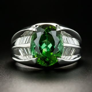 Estate 4.35 Carat Green Tourmaline and Diamond Ring - 1