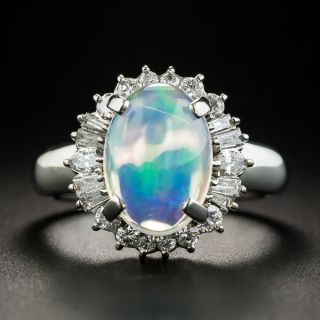 Estate 4.55 Carat Opal Cabochon and Diamond Ring - 1