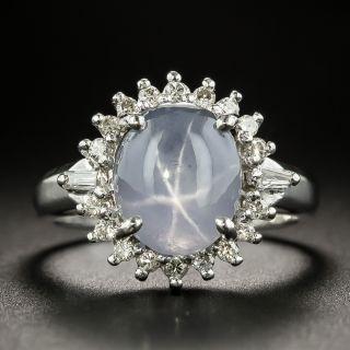 Estate 4.69 Carat Star Sapphire and Diamond Halo Ring - 2