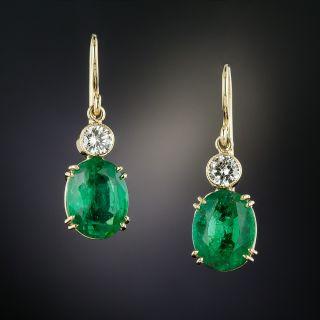 Estate 4.80 Carat Oval Emerald and Diamond Earrings - 2