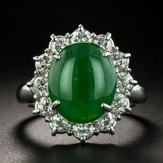 Estate 4.85 Carat Burmese Jade Cabochon and Diamond Ring - 1