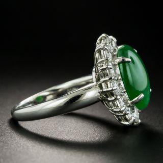 Estate 4.85 Carat Burmese Jade Cabochon and Diamond Ring