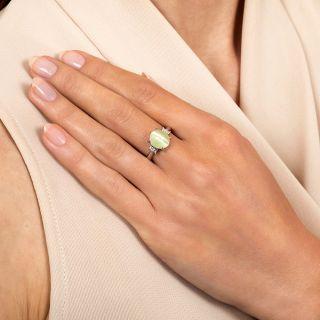 Estate 4.87 Carat Cat's Eye Chrysoberyl and Diamond Ring