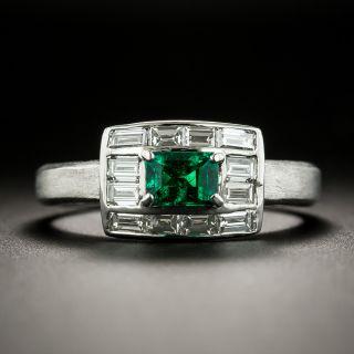 Estate .42 Carat Emerald and Diamond Ring - 1