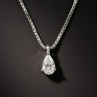Estate .47 Carat Pear Shape Diamond Platinum Drop - 2