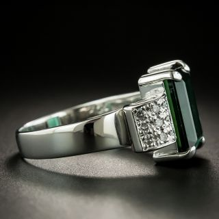 Estate 5.04 Carat Green Tourmaline and Diamond Ring