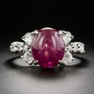 Estate 5.05 Carat Star Ruby Platinum Diamond Ring