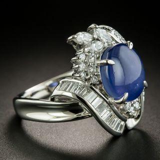 Estate 5.63 Carat Star Sapphire and Diamond Ring