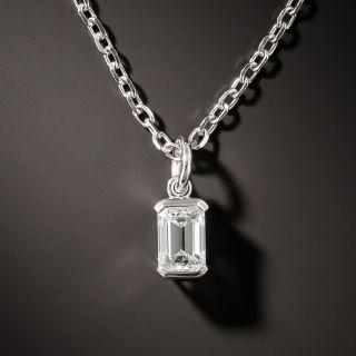 Estate .50 Carat Emerald-Cut Diamond Pendant - 3