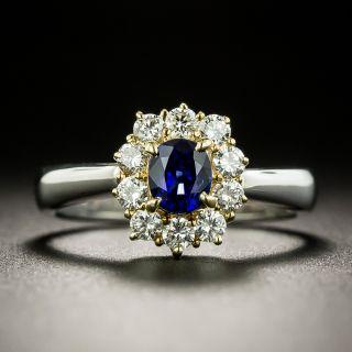 Estate .50 Carat Sapphire and Diamond Halo Ring - 3