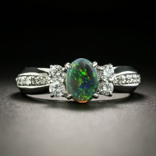 Estate .51 Carat Black Opal Cabochon and Diamond Ring - 1