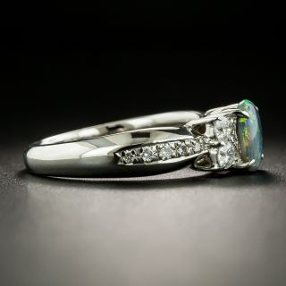 Estate .51 Carat Black Opal Cabochon and Diamond Ring