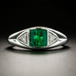 Estate .51 Carat Colombian Emerald and Diamond Ring - 3