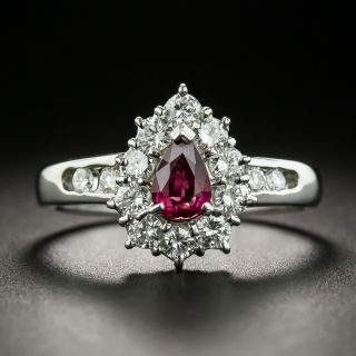 Estate .51 Carat Pear-Shaped Ruby and Diamond Halo Ring  - 1
