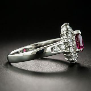 Estate .51 Carat Pear-Shaped Ruby Platinum Diamond Ring