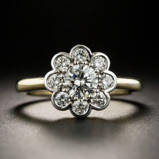 Estate .52 Carat Center Diamond Cluster Ring - GIA H SI1 - 2