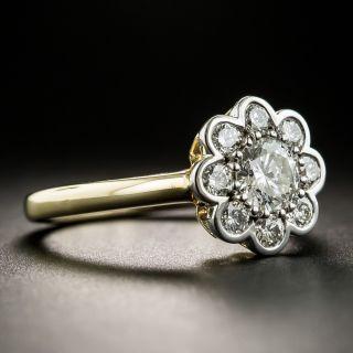 Estate .52 Carat Center Diamond Cluster Ring - GIA H SI1