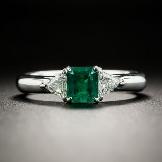 Estate .52 Carat Emerald and Diamond Ring - 2