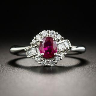Estate .53 Carat Ruby Platinum Diamond Ring