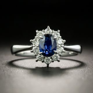 Estate .53 Carat Sapphire and Diamond Cluster Ring - 1