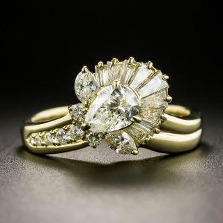Estate .54 Carat Pear-Shaped Diamond Flower Ring - 1